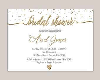 Gold bridal shower invitation, elegant bridal shower invitation, bridal shower invitation gold, bridal shower invitation printable Bride