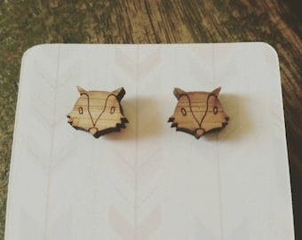 Cute little wooden animal earrings