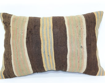 16x24 Bohemian Kilim Pillow Ethnic Pillow Decorative Kilim Pillow 16x24 Lumbar Kilim Pillow Striped Kilim Pillow Cushion Cover SP4060-362