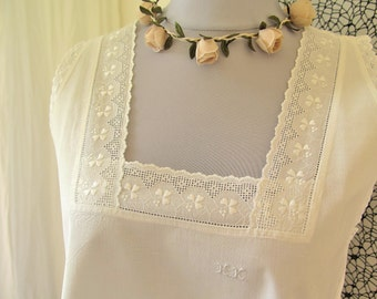 Nightgown with Lace - romantic night dress with monogram