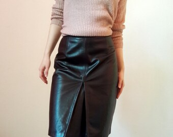 ST. EMILE Brown Leather High Waist Skirt