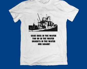Jaws movie shirt top tee shirt cage goes in the water shark front and back printed quints fishing film shirt