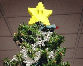 Mario Pixel Star Christmas Tree Topper