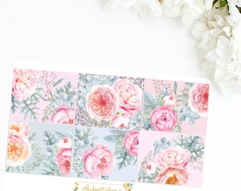 FROSTED PEONY | Floral Full Box Sticker Sheet | ECLP Vertical