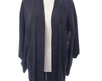 Vintage Japanese Black Haori Coat Small Medium Kimono 1920's 1930's Silk