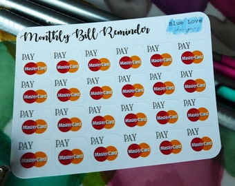 Monthly Bill Reminder Stickers - Bill Reminder Sticker - Credit Card Bill Reminder - Mini Planner Sticker - Mini Bill Reminder - MasterCard