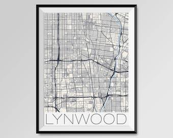 Lynwood map Etsy