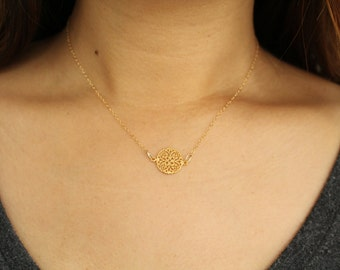 Choker Necklace, Hill Tribe Silver, Gold Vermeil, Circle Necklace, Filigree Necklace, Gold Necklace, 14k gold filled