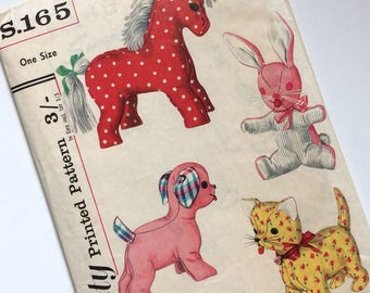 1960s Adorable Soft Toy Uncut Simplicity Sewing Pattern No.S.165