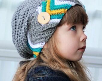 Crochet pattern, Patron de crochet, english / french –Kylie Slouchy Beanie Hat Bonnet Beret (Toddler- Child- Adult sizes)