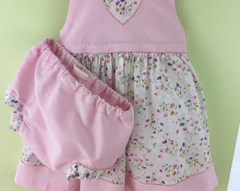 Handmade summer Pinafore dress - Pink/Floral.  18 Months-2 Years