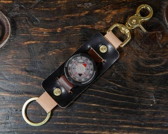 Suunto Compass Keychain Solid Brass Scissor Snap and Rivets, Black Shell Cordovan, Natural Vegtan and OxBlood Leather Made in USA