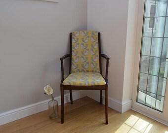 Vintage Retro Style Chair - Mustard Scandi Bird Design fabric