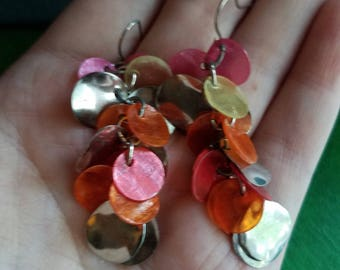 Colorful mother of pearl and silver discs chandelier earrivgs pinks oranges