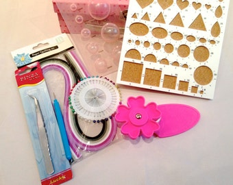 Beginners Kit Quilling 7 pen tools, templates, clips, paper, pins, art papers, technical folk art of filigree