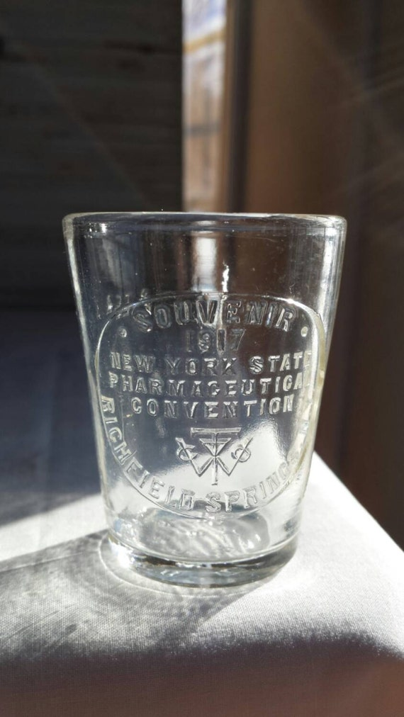 Vintage 1917 New York State Pharmaceutical Convention Richfield Springs, NY Souvenir Dose Cup. Mfg by Whitall Tatum Company Millville, NJ