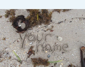 Personalized 5x7 Name In The Sand Photo w 8x10 mat