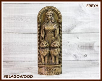 Wooden, Freya, Scandinavian pantheon, Norse god, scandinavian god, handmade, viking god, asatru, heathen