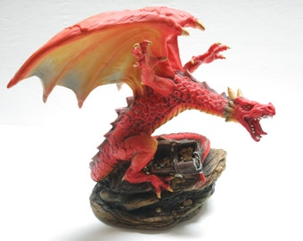 Beautiful Mythical Fantasy Red Dragon Guarding A Treasure Chest