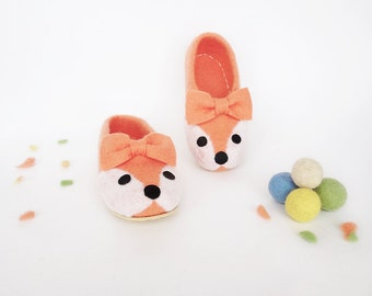 Girls Slippers wool Handmade childrens slippers kids house shoes slippers wool felt slippers warm orange slippers Felted wool slippers