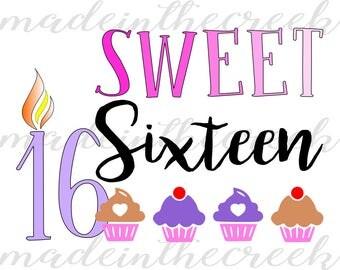 Sweet Sixteen, Cupcakes, Candle, Birthday, Milestone, SVG File, Digital Print, PNG, PDF, Cut File, Silhouette, Cricut