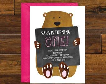 Bear Birthday Invitation, Digital Download