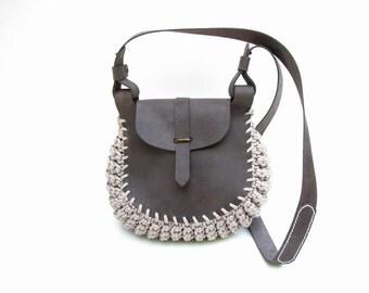 Leather Bag / Klotho /Knitted Bag / Hand Stitched Leather Bag  / Handmade Bag /