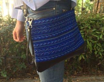 Blue boho crossbody bag, Blue boho Clutch, Blue ethnic bag, Woven fabric boho bag, Leather boho bag,