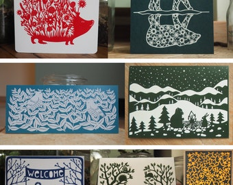 Set of 14 greeting cards with papercut design