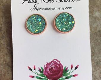 12mm mint druzy, druzy studs, druzy earrings, mint druzy earrings, bridesmaid druzy earrings