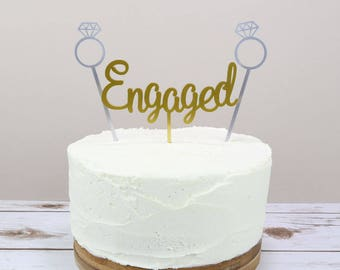 Engagement Cake Topper - Engaged Cake Topper - Gold Cake Topper - Engagement Party Cake - Engagement Cake Topper - Gold and Silver Engaged