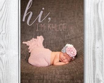 Hi, Baby Birth Announcement