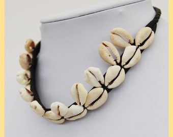 COWRY SHELL CHOKER - African Shell Necklace with Leather, From Cameroon, West Africa
