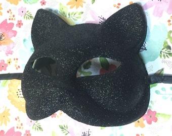 Black Cat Glitter Mask - Cat Woman Mask - Unisex Masquerade Costume Accessory *New*
