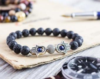 8mm - Black lava stone and lapis lazuli beaded silver Hamsa hand stretchy bracelet, mens bracelet, womens bracelet, lava bracelet
