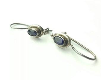 Vintage Sterling Silver Dark Oval Cut Amethyst Dangle Earrings