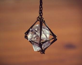 Caged Diamond Necklace, Boho Necklace, Herkimer Pendant, Diamond Herkimer, Raw Stone Cage