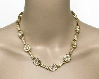 Vintage Gold Link Necklace Crystal Stone with Rhinestone Elegant and Simple Necklace