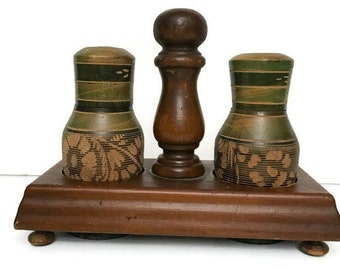 Vintage Wooden Salt and Pepper Shaker Made in Mexico