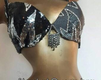 Rock | pop fusion bellydance costume bra: The Stardust Queen, D-cup (US C-cup)