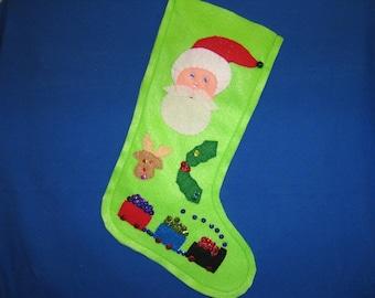 Beautiful lime green Christmas stocking