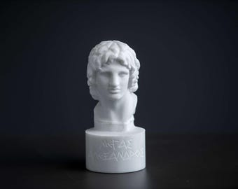 Bust of Alexander the great statue carved Greek marble figurine