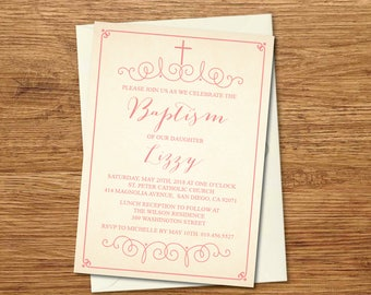 Baptism Invitation, Baptism Invitation Girl, Baptism Invitation Boy, Baptism Invitation Printable, Christening, Pink/Glitter/Confetti