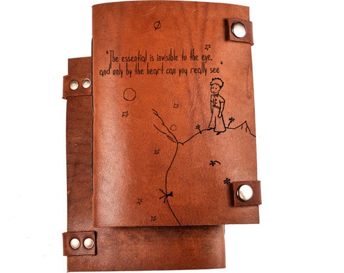 Little prince journal - leather journal - personalized notepad - custom notebook - sketchbook - personalized diary - little prince - Exupery