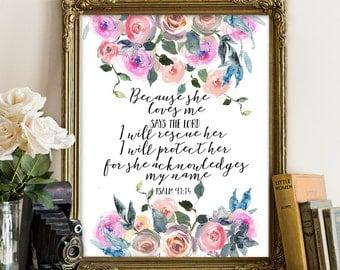 Psalm 91:14, Bible printable, Bible prints, Scripture printables, Scripture decor, Scripture printable, psalm printable, verse printables