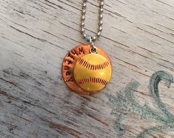 Softball necklace with ine inch disc personlized