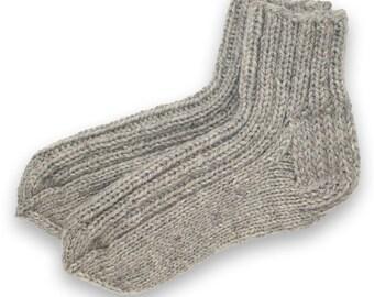 Socks slippers hand knitted, wool socks, warm socks, gift socks, knitted socks, winter socks, wool slippers, grey socks, knitted slippers
