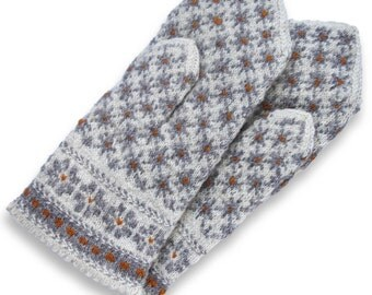 Latvian Double Mittens - Knit Wool Mittens - Wool Mittens - Knitted Mittens - Patterned Knit Mittens - Wool Gloves - Women Gloves - Size M