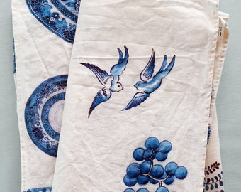 Blue Willow Linen-Cotton tea-towel. Original hand painted artwork in Ink & Watercolor. Illustration + design by Lucy King