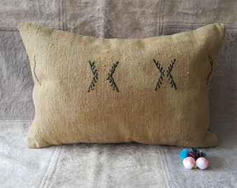 """About 65 Years Old  Hand Made Linen  Lumbar  Kilim Pillow Cover  16""""24""""InChess 40cm ×60cm Vintage Kilim Pillow Cover Decorative Pillow"""